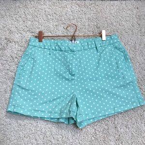 Elle Mint Green White Polka Dot Chino Shorts SZ 10